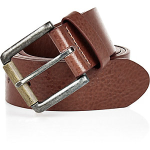 Brown classic square buckle belt