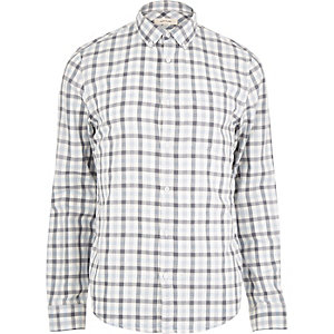 Blue colour block gingham shirt