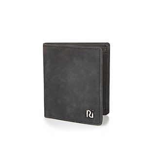 Black leather 3-fold wallet