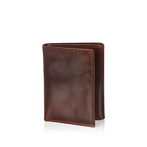 Dark red leather three fold wallet