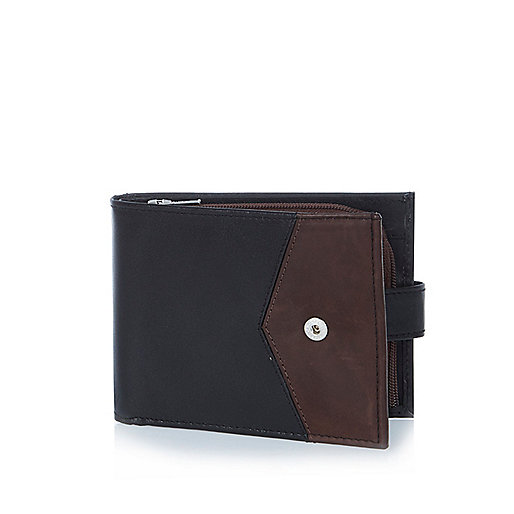 Black leather block color wallet