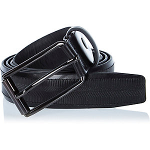 Black textured leather belt