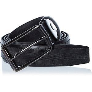 Black textured leather belt