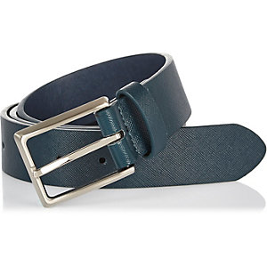 Turquoise blue textured belt