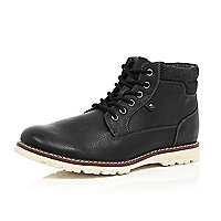 Black cleated sole hiker boots
