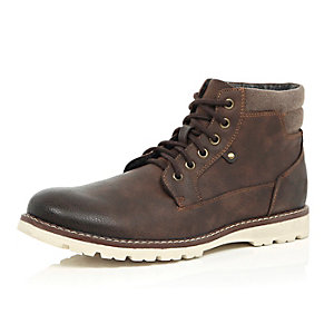 Brown cleated sole hiker boots