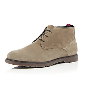 Brown suede chunky chukka boots