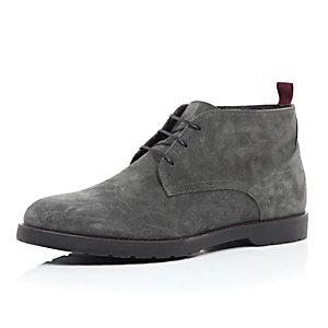 Dark grey suede chunky chukka boots