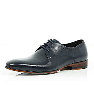 Navy leather laser cut formal shoes