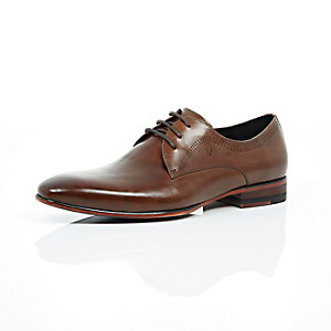 Brown leather laser cut formal shoes