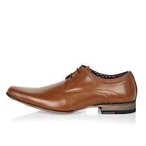 Brown leather colour block heel smart shoes