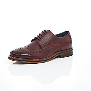 Dark red pebbled leather brogues