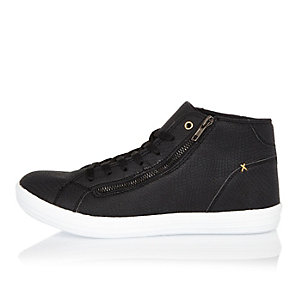 Black snake print high top sneakers