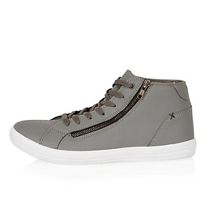 Grey snake print high top trainers