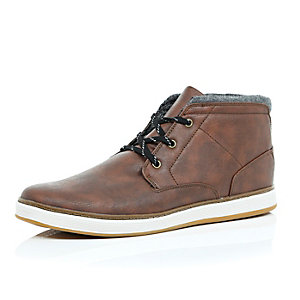 Brown lace up mid top boots