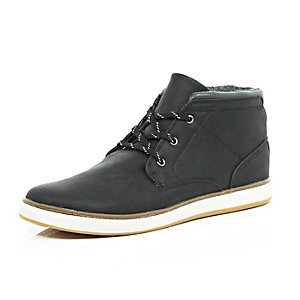 Black lace up mid top boots