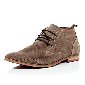 Dark beige perforated suede desert boots