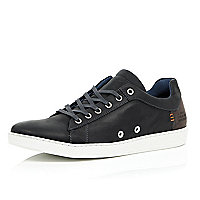 Black leather minimal trainers