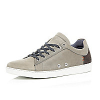 Grey leather minimal trainers