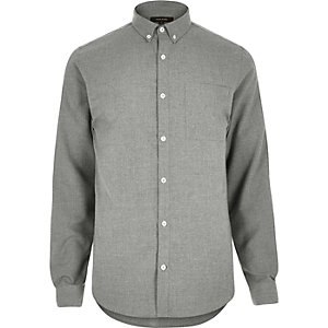 Grey flannel slim long sleeve shirt