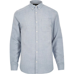 Blue flannel slim long sleeve shirt