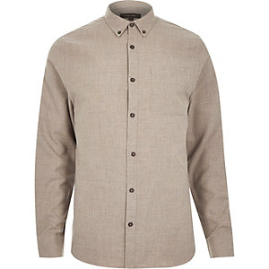 Ecru flannel long sleeve slim shirt