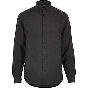 Dark grey flannel slim long sleeve shirt