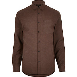 Brown flannel long sleeve shirt