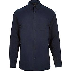 Navy flannel slim long sleeve shirt