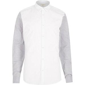 White contrast long sleeve shirt