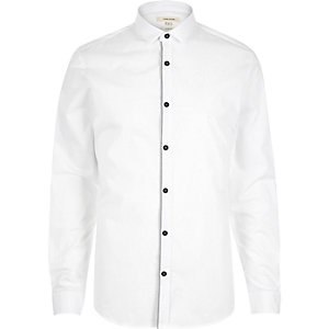 White grey tape long sleeve shirt