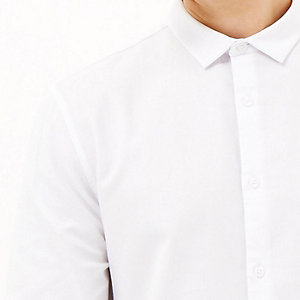 White textured weave slim shirt