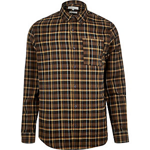 Brown check long sleeve shirt