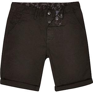 Washed black slim chino shorts