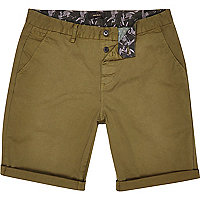 Khaki green chino shorts