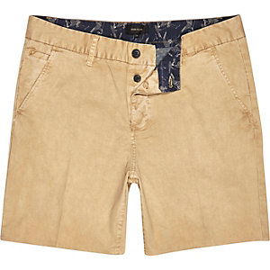 Tan brown chino slim shorts
