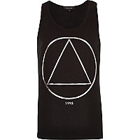 Black triangle foil print vest