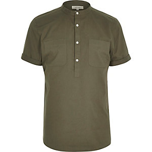 Khaki green over head short sleeve shirt