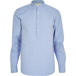Blue textured over head shirt