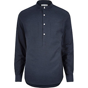 Navy blue textured overhead shirt