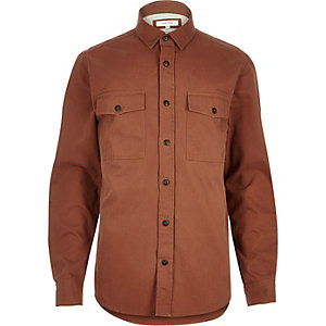 Orange herringbone utility long sleeve shirt