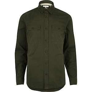 Green herringbone utility long sleeve shirt