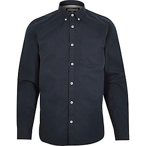 Navy twill long sleeve shirt