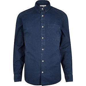 Blue denim placket detail shirt