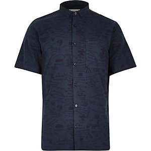 Blue western print short sleeve shirt