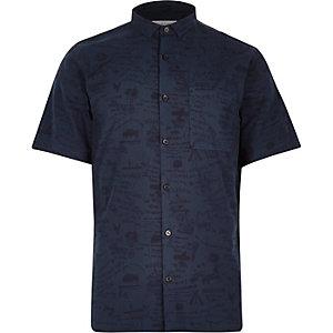 Blue western print short sleeve shirt