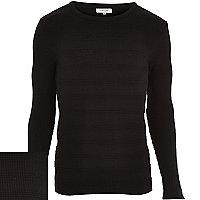 Black ribbed long sleeve jumper