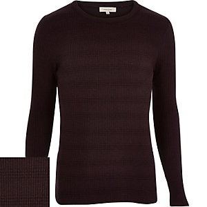 Red ribbed long sleeve jumper