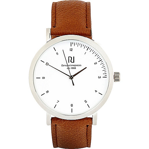 Brown simple face watch