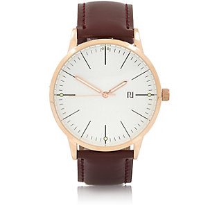 Brown rose gold classic watch